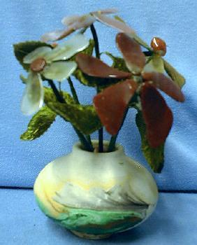 Nemadji Art Pottery with Coral & Agatel Flowers