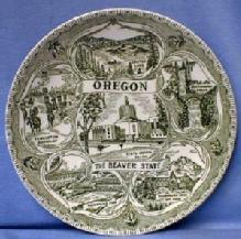 old OREGON Souvenir Plate  BEAVER STATE  - Pottery Porcelain