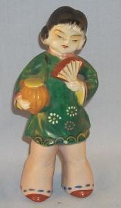 Occupied Japan GIRL w/FAN Porcelain Figurine