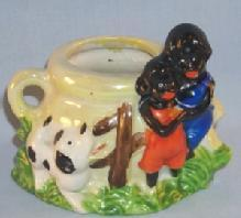 Black Americana Porcelain CHILDREN & DOG Match Holder / Planter - Ethnographic