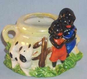 Black Americana Porcelain CHILDREN & DOG Match Holder / Planter - Ethnographic