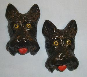 Two SCOTTIE DOG Chalkware Wall Plaques - Misc.