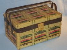 OCCUPIED JAPAN Multicolor Bamboo Picnic Basket - Misc.