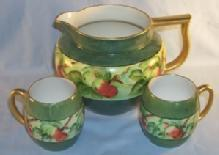 LIMOGES Signed Porcelain Lemonade Pitcher with 2 Matching Cups