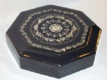MOTHER-OF-PEARL Decorated Enameled Wood Jewelry Box