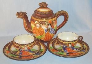 Brown DRAGONWARE Porcelain Tea Set
