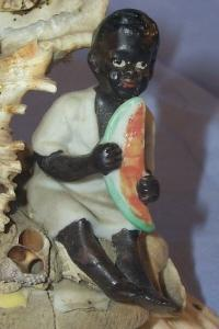 Bisque BLACK BOY WITH WATERMELON On SeaShell Figural Image - Ethnographic
