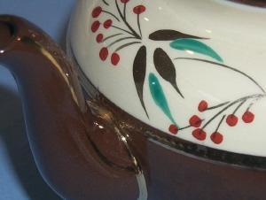 Dark Brown SADLER Hand Painted Pottery Teapot