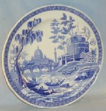 SPODE Flow Blue Commemorative Porcelain Plate