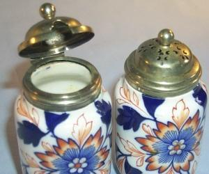 Pretty Gaudy Welsh Porcelain Condiment Set