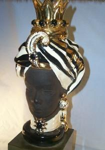 Black Lady Head Bust Table Lamp - Ethnographic