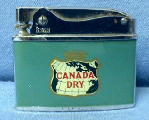 Cigarette Lighter  CANADA DRY Advertising  Lighter - Vintage Ginger Ale Soda Advertising Tobacciana