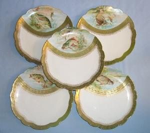 Five Austrian Porcelain FISH PLATES