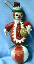 CLOWN on Ball Ornament  - Vintage Figural Holiday Misc