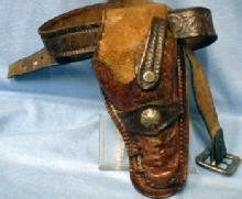 vintage Toy Cap Gun Holster - 1950's Large Tooled