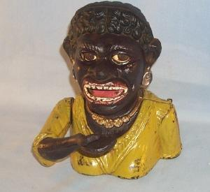 English Cast Iron DINAH Mechanical Bank - Ethnographic
