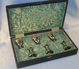 Set of Six Silver Plated Pedestal Communion Cups in Original Box - Metalware