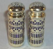 COBALT Glass Salt and Pepper Shakers in Chromed Metal Holders