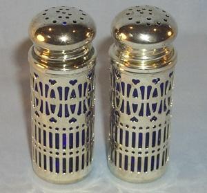 COBALT Glass Salt and Pepper Shakers in Chromed Metal Holders