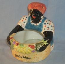 LADY WITH BASKET Porcelain Advertising Planter - Ethnographic
