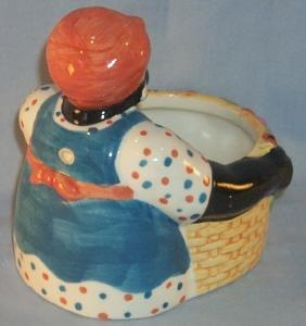 LADY WITH BASKET Porcelain Advertising Planter - Ethnographic