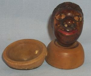 Black Americana Hand Carved Head Figure Salt Dip - Ethnographic