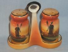 NORITAKE Porcelain WINDMILL Salt and Pepper Shakers on Tray