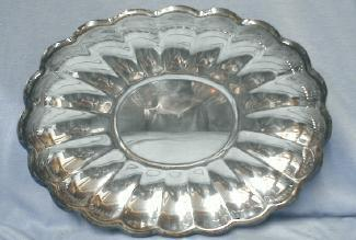 vintage Reed & Barton Oval Scalloped Tray - Large Oversize Silverplate silver plate