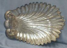 vintage English Silver SHELL Shaped Console Bowl  - Antique metalware