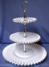 Fenton glass SILVER CREST 3-tier Tidbit Server Tray -