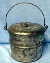 Kitchen  Tin Berry Bucket - Vintage Covered Pail - metalware