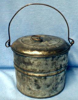 Kitchen  Tin Berry Bucket - Vintage Covered Pail - metalware