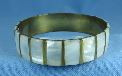 Jewelry  MOP & Brass Bangle Bracelet - Vintage Costume jewelry
