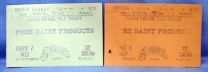 old vintage 1933 Toll Bridge Ticket - Gandy Bridge Florida?? - Dairy Products Advertising - paper