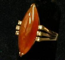 old Cornelian & Diamond Ring - Vintage 14KT Jewelry