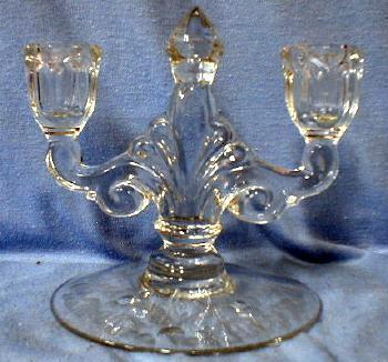 Heisey glass Candleholder - Queen Ann Mold - Clear