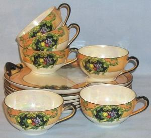 Exceptional NORITAKE 6 Place Setting Hand Painted Mother of Pearl Porcelain Refreshment Sets