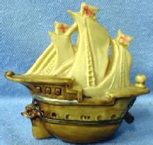 Celluloid SHIP Tape Measure - Figural Sailing SHIP with Dolpin Head  - Misc