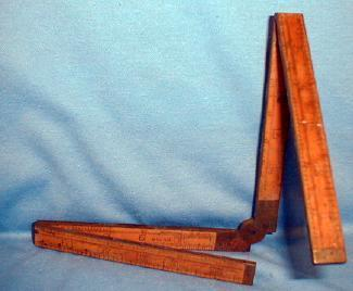 old Hamlett Rule & Level Co. Folding Wood & Brass Rule - Vintage Misc Tool