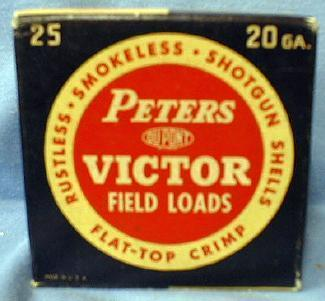 PETERS Victor 20 GA. Shotgun Shell Box with Paper Shells - Vintage Sporting Collectible