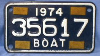 old Michigan Boat License - 1974 Tin Sporting Metalware