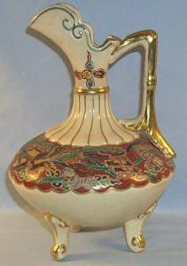 Three Footed Handled Pottery Ewer