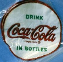 old  cloth soft drink Coca Cola Patch - Embroidered Textile Vintage Coke Advertising