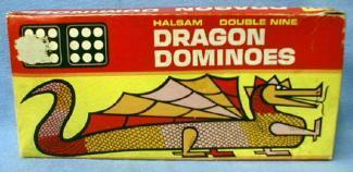 old vintage Dominoes 1940-50's DRAGON Halsam Double 9  with Original Box - Toys