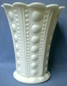 Milk Glass JEWEL ZIPPER and BUTTON Large Vase
