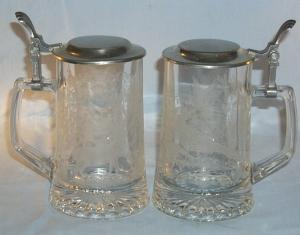 Pair of Etched Pheasant and Elk German Glass Drinking Mugs