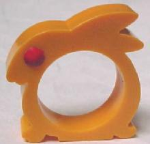 Yellow Rabbit Bakelite Napkin Ring - Collectibles