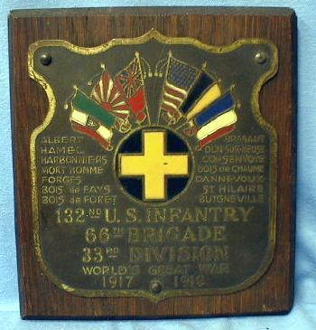 US Army WWI   132nd US Infantry Plaque 1917 -1919