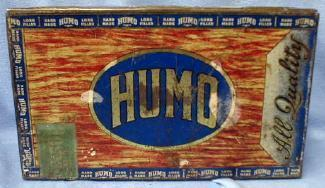 Tobacco  HUMO Cigar Box with Glass Lid - Detroit Michigan Tin Cigar Display Box - Tobacciana