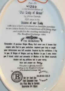 The Bradford Exchange OUR LADY OF GRACE Limited Edition Porcelain Decorative Plate